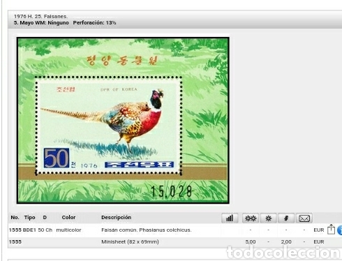Sellos: HB Corea Norte mtda (DPKR)/1976/Faisan comun/fauna/aves/animales/naturaleza/ - Foto 3 - 151329988