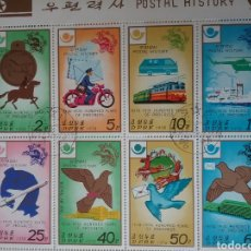Sellos: HB COREA NORTE MTDA (DPKR)/1978/HISTORIA CORREOS/I CENT. UNION POSTAL UNIVERSAL/UPU/AVE/PALOMA/TREN/. Lote 151390472