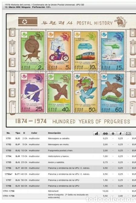 Sellos: HB Corea Norte mtda (DPKR)/1978/Historia correos/I Cent. union postal universal/UPU/ave/paloma/tren/ - Foto 3 - 151390472