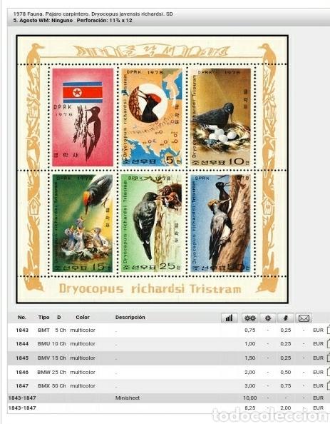 Sellos: HB Corea Norte mtda (DPKR)/1978/Fuana/aves/pajaro carpintero/naturaleza/nido/crias/ninfas/ - Foto 3 - 151437120