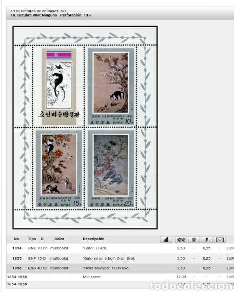 Sellos: HB Corea Norte mtda (DPKR)/1978/Pintutas O Un Byol/perro/gato/arbol/flora/fauna/arte/ocas/aves/mamif - Foto 2 - 151439482