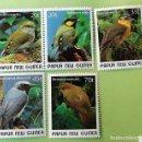 Sellos: PAPÚA NUEVA GUINEA. 591/95 PÁJAROS INDÍGENAS: OREOCHARIS, IFRITA, POECILODRYAS, SERICORNIS. 1989. SE. Lote 151960458
