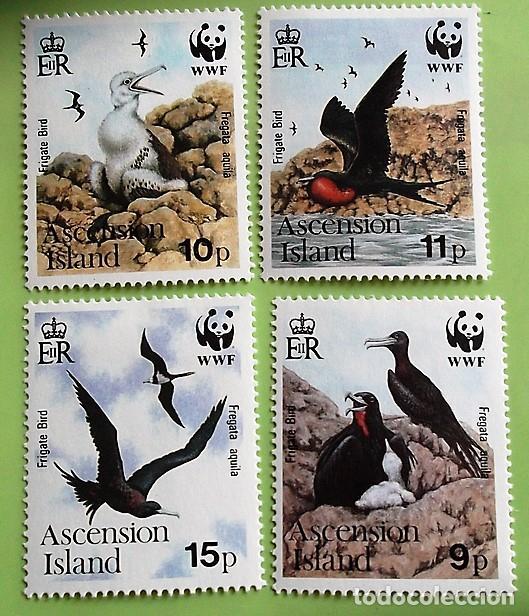 ASCENSIÓN. 503/06 PROTECCIÓN NATURA: AGUILA FRAGATA. WWF. 1990. SELLOS NUEVOS CON SEÑAL DE CHARNELA (Sellos - Temáticas - Aves)