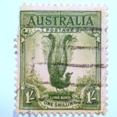 Sellos: SELLO POSTAL AUSTRALIA 1941, 1 CHELÍN, SUPERB LYREBIRD, PAJARO LIRA, USADO. Lote 153296834