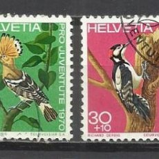 Sellos: Q508M-SELLOS SUIZA SERIE COMPLETA PRO JUVENTUD.1970 Nº868/71 AVES PÁJAROS FAUNA.HELVETIA.SUISSE. Lote 158764774