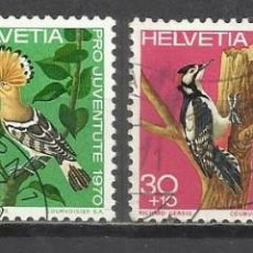 Sellos: Q508L-SELLOS SUIZA SERIE COMPLETA PRO JUVENTUD.1970 Nº868/71 AVES PÁJAROS FAUNA.HELVETIA.SUISSE. Lote 158764790