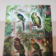Sellos: HB R. CHAD (TCHAD) MTDOS/2013/AVES, PAJAROS TROPICALES/COTORRA/CACATUA/ARATINGA/AMAZONA/GUACAMAYO EN. Lote 159568133