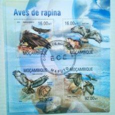 Sellos: AVES RAPACES HOJA BLOQUE DE SELLOS USADOS DE MOZAMIQUE. Lote 161451549