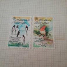 Sellos: SELLOS DE P. LIECHTENSTEIN NUEVOS/1986/CONSERVACION NATURALEZA/EUROPA CEPT/FAUNA/AVES/GOLONDRINA/PET. Lote 165879385