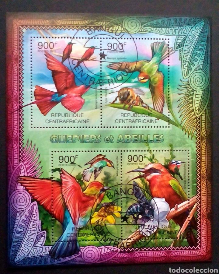 COLIBRÍES HOJA BLOQUE DE SELLOS USADOS DE REPÚBLICA CENTROAFRICANA (Sellos - Temáticas - Aves)