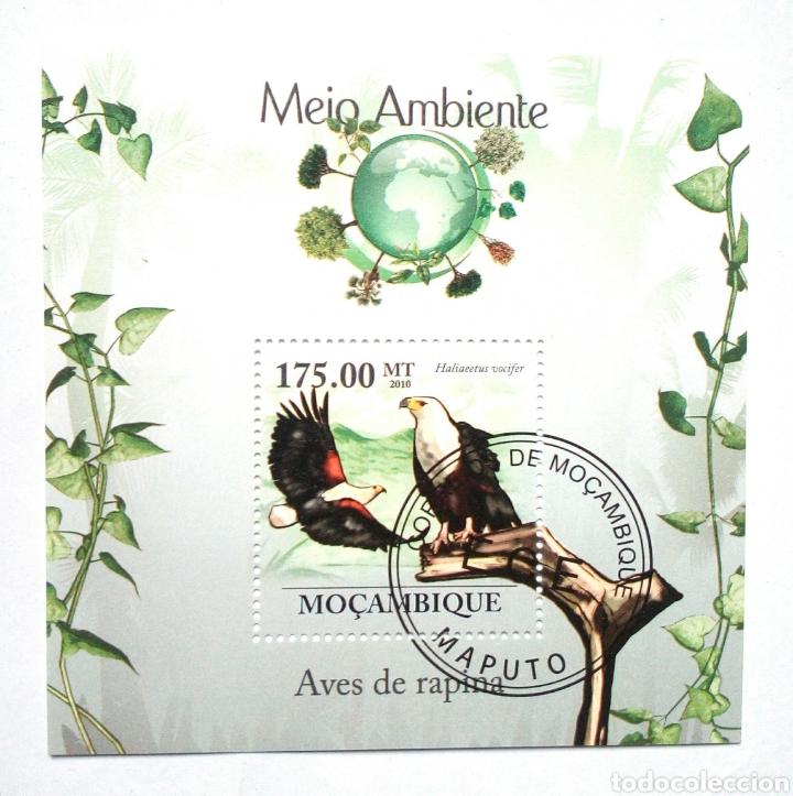 AGUILAS HOJA BLOQUE DE SELLOS USADOS DE MOZAMBIQUE (Sellos - Temáticas - Aves)