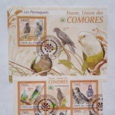 Sellos: LOROS 2 HOJAS BLOQUE DE SELLOS USADOS DE COMORAS. Lote 171256449