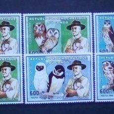 Sellos: AVES RAPACES BÚHOS SERIE DE SELLOS NUEVOS DE REPÚBLICA DEL CONGO. Lote 193263193