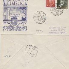 Sellos: AÑO 1960, PALOMA, SANTA COLOMA DE GRAMANET, EXPOSICION FILATELICA, SOBRE DE PANFILATELICAS CIRCULADO. Lote 178956192
