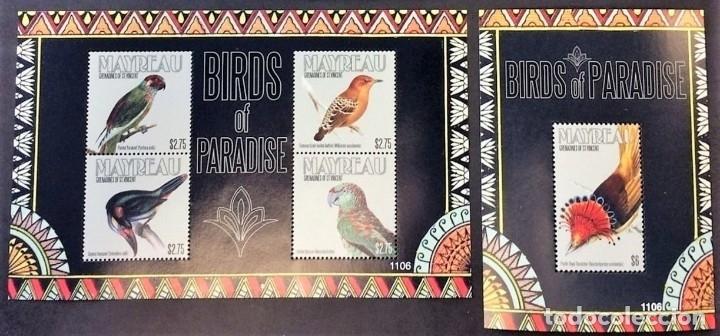MAYREAU - 2 HOJAS - SERIE COMPLETA + HOJITA - AVES - NUEVAS, SIN FIJASELLOS ( 3 FOTOS) (Sellos - Temáticas - Aves)