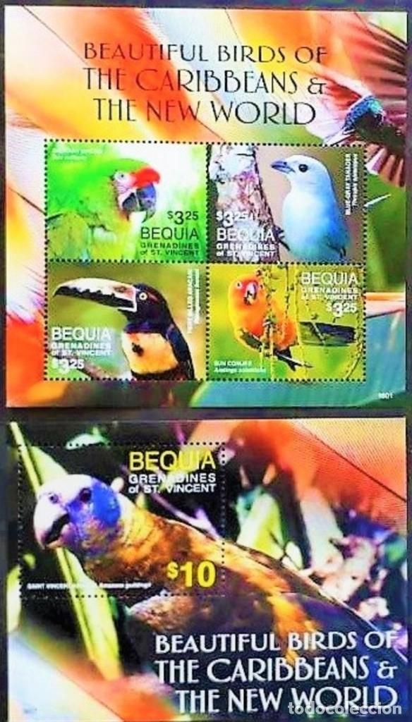 BEQUIA - 2 HOJAS - SERIE COMPLETA + HOJITA - AVES - NUEVAS, SIN FIJASELLOS ( 3 FOTOS) (Sellos - Temáticas - Aves)