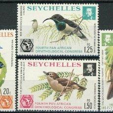 Sellos: SEYCHELLES 1976 IVERT 351/54 * 4º CONGRESO PANAFRICANO DE ORNITOLOGÍA - FAUNA - AVES. Lote 181995447