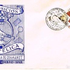 Sellos: AÑO 1958, PALOMA, V EXPOSICIÓN FILATELICA DE SANTA COLOMA DE GRAMANET, SOBRE DE GOMIS. Lote 182285081