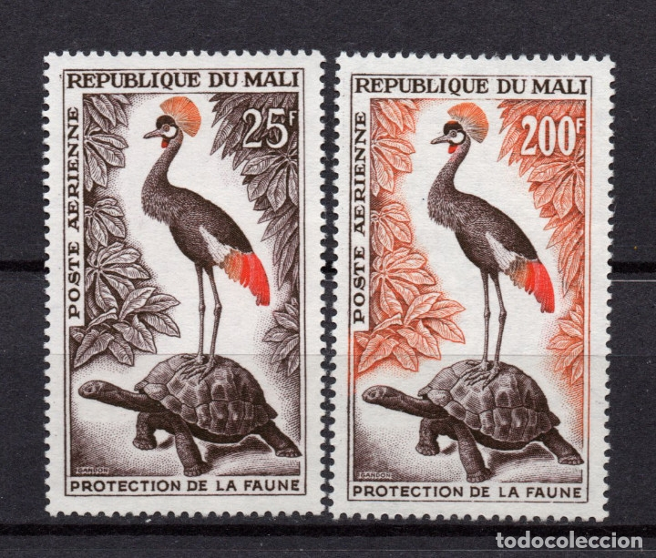 MALI AEREO 19/20** - AÑO 1963 - FAUNA - AVES - TORTUGAS (Sellos - Temáticas - Aves)