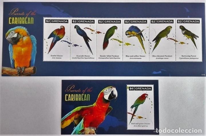 GRENADA - 2 HOJAS - SERIE COMPLETA + HOJITA - AVES - NUEVAS, SIN FIJASELLOS ( 3 FOTOS) (Sellos - Temáticas - Aves)