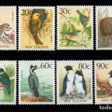 Sellos: NUEVA ZELANDA 1011/18** - AÑO 1988 - FAUNA - AVES. Lote 192815257