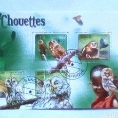 Sellos: LECHUZAS HOJA BLOQUE DE SELLOS USADOS DE REPÚBLICA CENTROAFRICANA. Lote 193263150