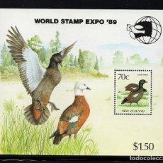 Sellos: NUEVA ZELANDA HB 68** - AÑO 1989 - FAUNA - AVES - WORLD STAMP EXPO 89, EXPOSICION FILATELICA MUNDIAL. Lote 194074495