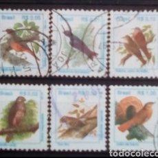 Sellos: AVES SERIE DE SELLOS USADOS DE BRASIL. Lote 194393165