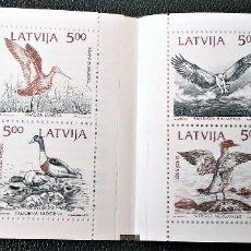 Selos: LETONIA. C304 PÁJAROS DEL BÁLTICO: PANDION, LIMOSA, MERGUS, TADORNA. MARE BALTICUM, 8 SELLOS. 1992. . Lote 198417622
