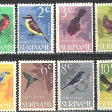 Francobolli: SURINAM, 1966 YVERT Nº 422 / 429, AVES / PÁJAROS . Lote 198579386