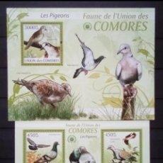 Sellos: PALOMAS 2 HOJAS BLOQUE DE SELLOS NUEVOS DE COMORAS. Lote 207364171