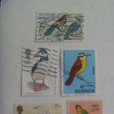 Sellos: LOTE DE 5 SELLOS DE AVES - PAJAROS : NICARAGUA, FRANCIA, ECUADOR Y REINO UNIDO. Lote 209914075