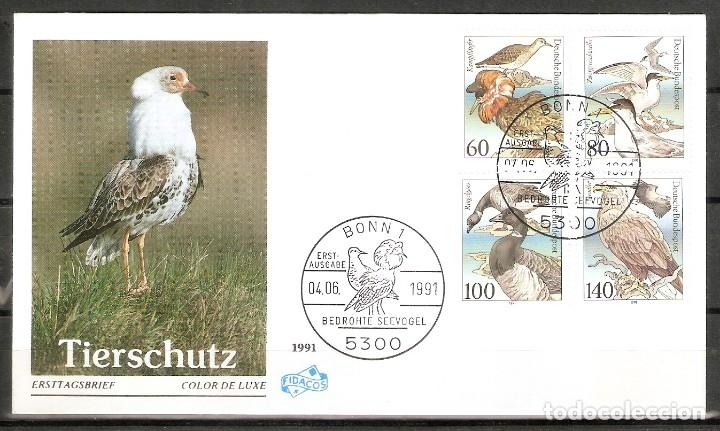 Sellos: ALEMANIA FEDERAL.1991. FDC. MI 1539/1542. AVES - Foto 1 - 221397097