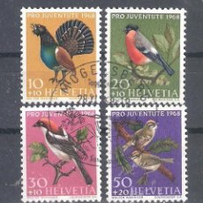 Sellos: SUIZA Nº 824/827º AVES. SERIE COMPLETA. Lote 222116241