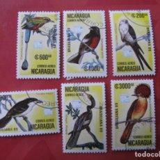 Sellos: +NICARAGUA, 1989, 6 SELLOS TEMA AVES. Lote 222544998