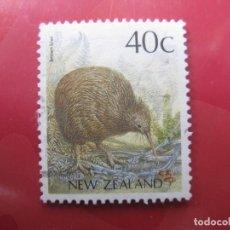 Sellos: +NUEVA ZELANDA, 1988, AVES, KIWI MARRON, YVERT 1014. Lote 222700516