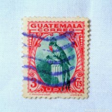 Sellos: ANTIGUO SELLO POSTAL GUATEMALA 1935, 3 CENTAVOS , QUETZAL, USADO. Lote 225757475