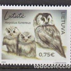 Sellos: 25.- LITUANIA 2020 LECHUZAS - BUHOS - AVES RAPACES. Lote 226086653