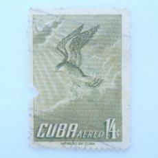 Sellos: SELLO POSTAL CUBA 1956, 14 ¢, HALCÓN DE GUNDALCH, USADO. Lote 230234770