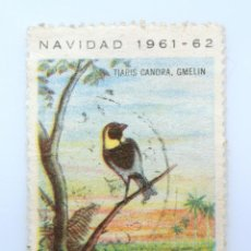 Sellos: SELLO POSTAL CUBA 1961, 2 ¢, NAVIDAD 1961-62, PAJARO TIARIS CANOLA, GMELIN, USADO. Lote 230629255