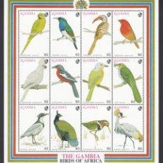Sellos: GANBIA, 1993 YVERT Nº 1429 / 1440 /**/, AVES DE AFRICA. Lote 232477930