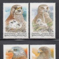 Sellos: HUNGRIA, 1992 YVERT Nº 3377 / 3380 /**/, AVES RAPAZES. Lote 232481065