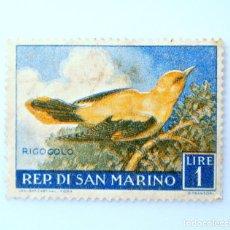 Sellos: SELLO POSTAL SAN MARINO 1960 , 1 ₤, OROPÉNDOLA, RIGO GOLO, RAREZA FALLO COLOR BORDE AVE, SIN USAR. Lote 233926430