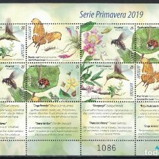 Sellos: UY-ML3689 URUGUAY 2019 MNH FLOWERS WITH BIRDS AND INSECTS. Lote 236770705
