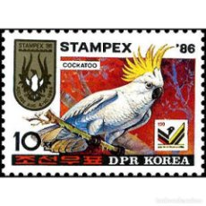"""Sellos: 🚩 KOREA 1986 WORLD TRADE FAIR OF STAMPS """"STAMPEX '86"""" MNH - PARROTS, PHILATELIC EXHIBITION. Lote 243284380"""