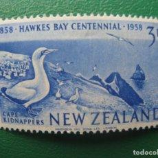 Sellos: NUEVA ZELANDA, 1958, CENTENARIO BAHIA DE HAWKE, YVERT 372. Lote 245185915