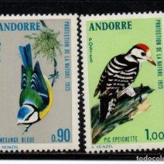 Timbres: ANDORRA 232/33** - AÑO 1973 - FAUNA - AVES - PROTECCIÓN DE LA NATURALEZA. Lote 253427035