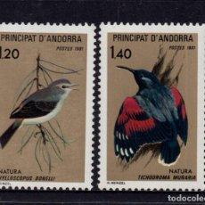 Timbres: ANDORRA 294/95** - AÑO 1981 - FAUNA - AVES - PROTECCIÓN DE LA NATURALEZA. Lote 253428000