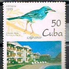 Sellos: CUBA Nº 3900, VISTA DE COCO KEY Y ZORZAL PATIRROJO, USADO. Lote 259876320