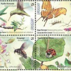 Sellos: ⚡ DISCOUNT URUGUAY 2019 FLOWERS WITH BIRDS AND INSECTS MNH - FLOWERS, BIRDS, INSECTS, BUTTER. Lote 260587555